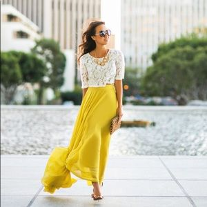 NWT Lucy Paris Amelia Flowy Yellow Maxi Skirt S